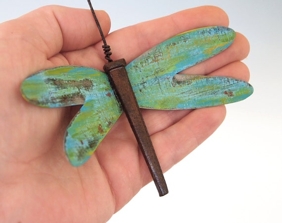 Metal Art Dragonfly Ornament Christmas Decorations Rustic Home Tin Decor Blue Gold Green Wings