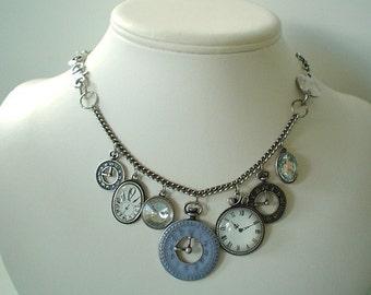 Steampunk Clock Charm Necklace