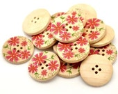 Red Pink Primrose Flower Pattern Wooden Sewing Buttons 30mm - set of 6 (BB105S)