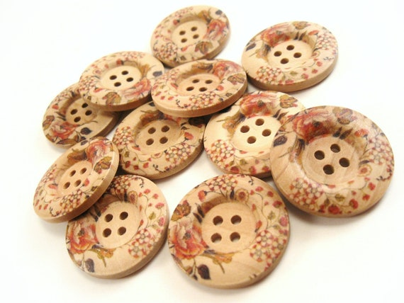 Victorian Flower Pattern Wooden Sewing Buttons 30mm - set of 6  (BB105T)