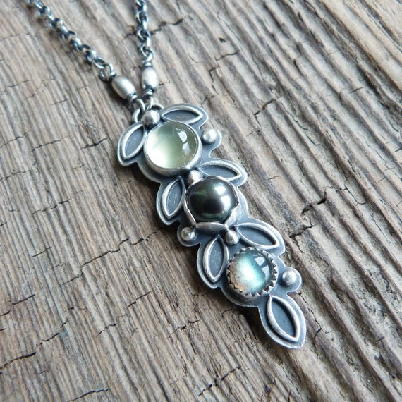 Prehnite, Freshwater Pearl and Labradorite Necklace in Oxidised Sterling Silver - Barley Necklace in Earth