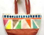 HORIZONTAL leather Happy NEON tote