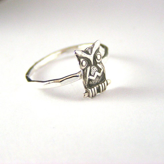 hoot sterling silver fall owl ring
