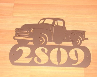 Vintage Pick Up Truck ADDRESS PLAQUE Home Decor Wall Personalized Sign