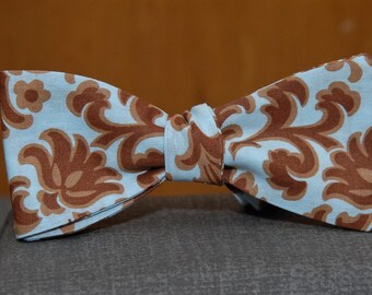 Brown Damask on Blue  Bow tie