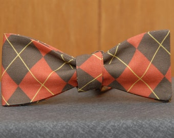 Orange and Brown Argyle  Bow Tie