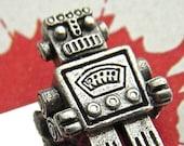 Silver Robot Tie Clip Men's Gifts Steampunk Tie Clip Men's Tie Clip Silver Tie Clip By Cosmic Firefly