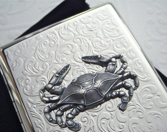 Crab Cigarette Case Silver Plated Metal Large Double Gothic Victorian Steampunk Vintage Inspired Style