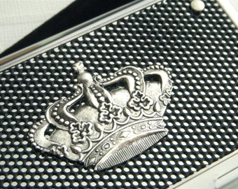 Silver Crown Business Card Case Industrial Design King's Crown Steampunk Card Case Gothic Victorian Crown Wallet
