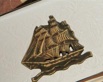 Pirate Ship Business Card Case Steampunk Case Silver Card Case / Cigarette Case Gothic Victorian Nautical Steampunk Accessories Brass Ship
