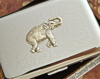 Silver Elephant Business Card Case Vintage Inspired Steampunk Card Case Silver Card Case Metal Card Holder Victorian Steampunk Accessories
