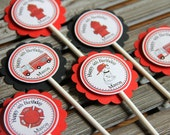 Firefighter Personalized Cupcake Toppers RED and BLACK