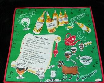 Comical Vintage Unused Tags Anthropomorphic Ingredients Irish Coffee Recipe Hankie, 8118