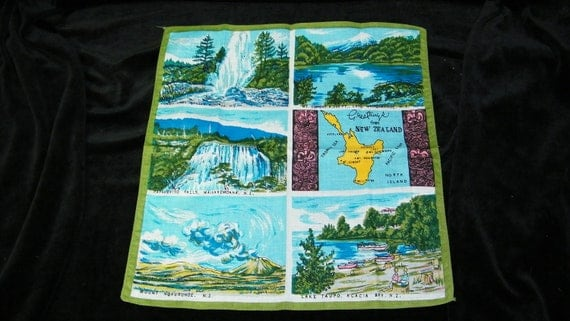 Vintage Unused Souvenir Colorful Country of New Zealand Scenic Handkerchief, 7563