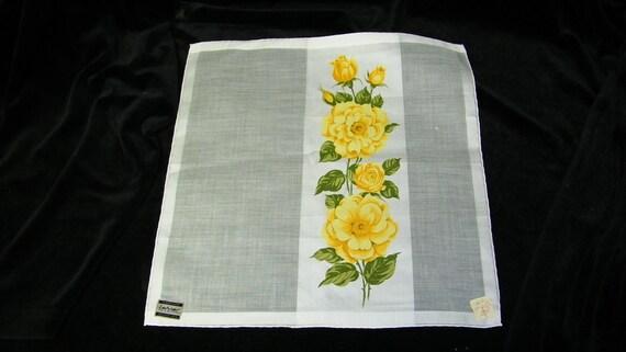 "Beautiful Vintage Unused 12"" Handrolled Yellow Roses Satin Bridesmaid Handkerchief, TAGS, 7761"