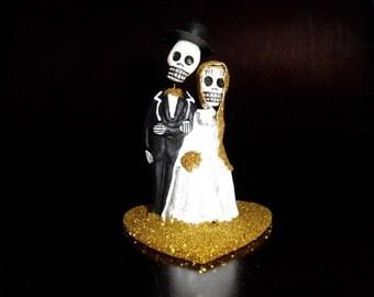 Yellow Gold Dia De Los Muertos Cake Topper - Wedding Cupcake Topper
