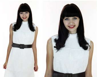 60s Mod Dress Vintage 1960s Cream Brown Heather With Pilgrim Brown Belt Buckle Small S Medium M