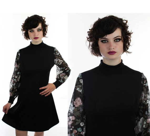 60s MOD Dress Empire Waist Black Babydoll Mini Floral Lace Sleeves Romantic Dolly 70s 1960s 1970s Small Medium S M