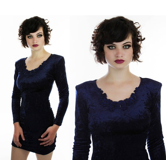 90s Bodycon Dress Vintage 80s Sexy Navy Blue Crushed Velvet With Braided Trim Details Grunge All That Jazz Small S