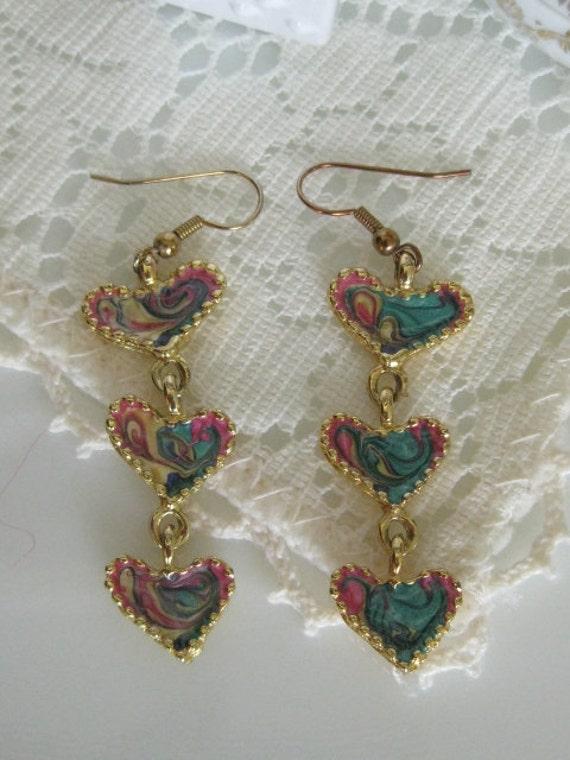 Vintage Swirl Enamel HEART Dangle Earrings