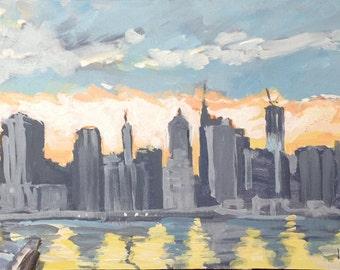 "Brooklyn Heights Promenade Painting . ""Brooklyn Promenade"" 12x30 in. (museum wrap)"