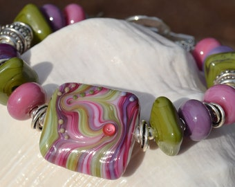 LOVELY-Handmade Lampwork and Sterling Silver Bracelet