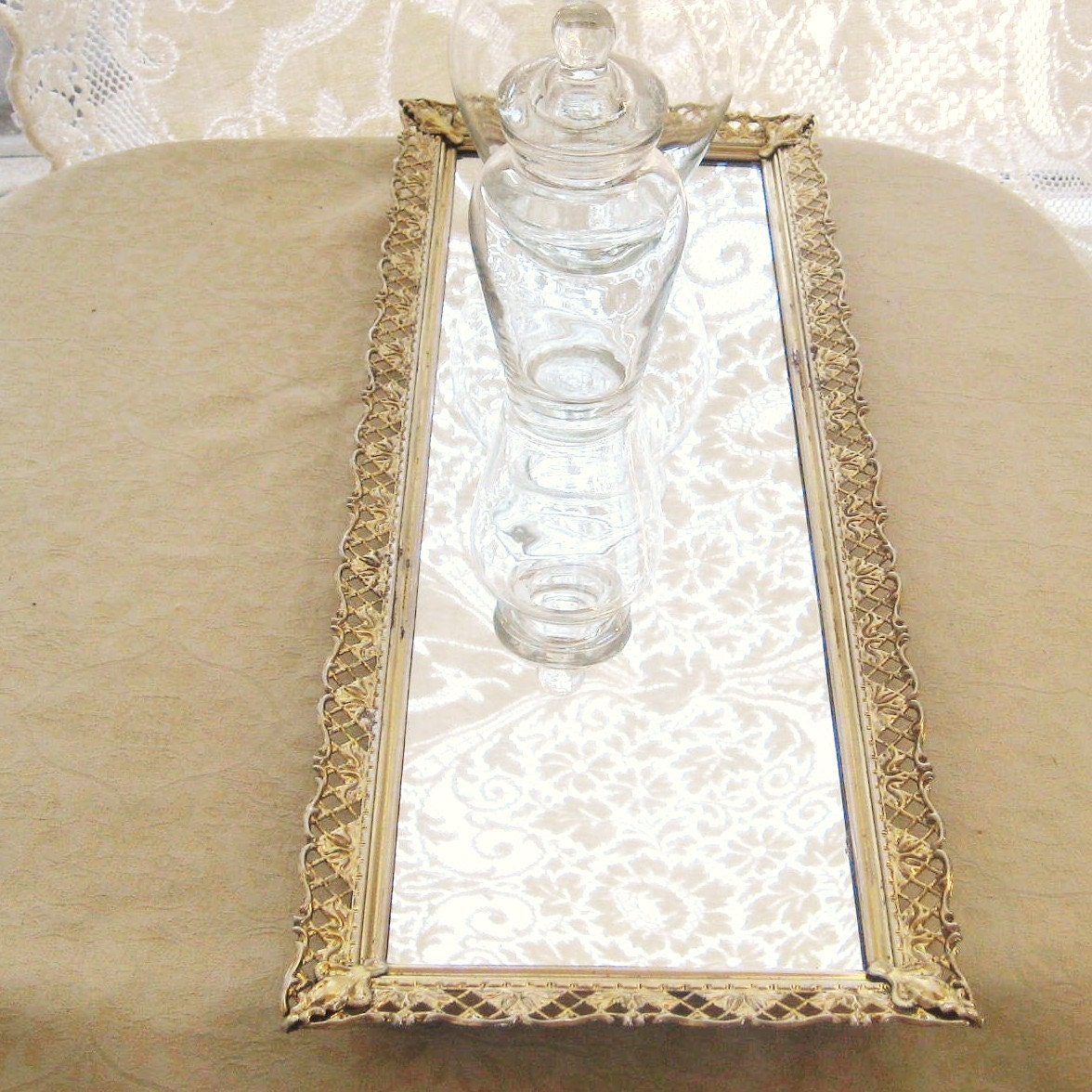 Mirrored vanity tray gold metal filigree long and narrow for Narrow wall mirror decorative