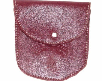 Ear Buds in Burgundy or Tangerine Lambskin & Saddle Deerskin Pouch Coin Purse