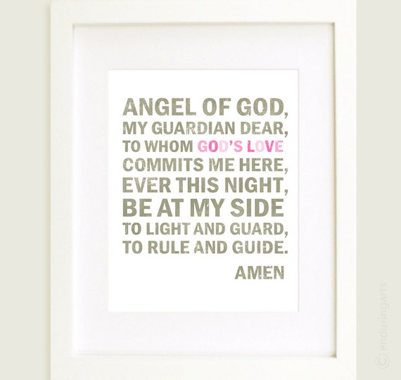 Guardian Angel Prayer in grey and pink 8x10