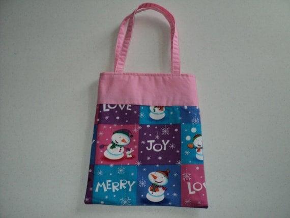 Fabric Gift Tote/Bag -  Christmas - Snowman