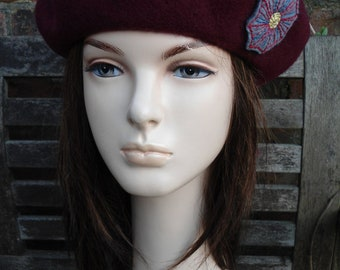 WINE GUM red wool felt beret with grey red blue embroidered motif an irish granny original