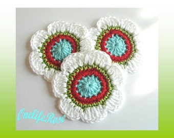 Crochet Flowers 3 piece