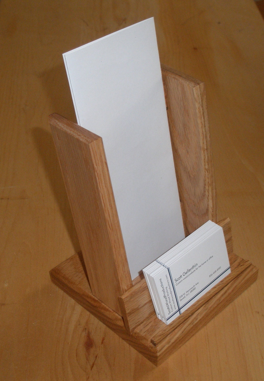 Brochure holder business card holder oak by swoodproducts for Flyer holder with business card