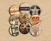 Vintage Hollywood Pin Back Buttons, Mirrors or Magnets, Set of 12  for Party favors, Weddings, Showers, Retro Parties, Movies, Popcorn
