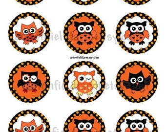 Little Owls 2 Inch Circles Cupcake Toppers Tags Digital Sheet C-332 Scrapbooking Frosting Prints