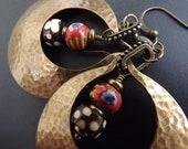 Large hoop earrings, African kiffa beads, hammered metal