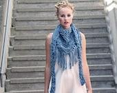 Chunky cotton triangle fringe scarf - Slate blue