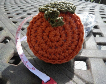 Measuring Tape /  Retractable / Crocheted covering / Pumpkin