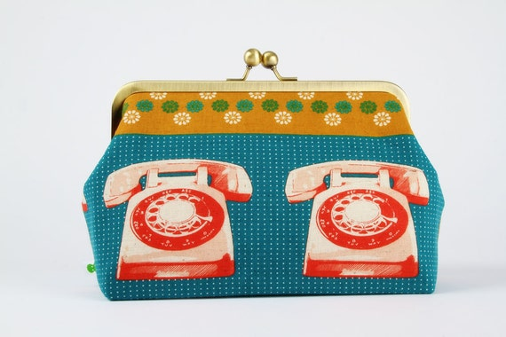 Cosmetic pouch - Red rotary phones - metal frame clutch bag