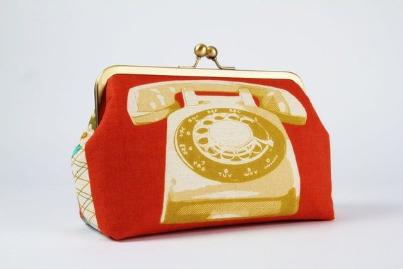 Cosmetic pouch - Rotary phone in yellow  - metal frame clutch bag