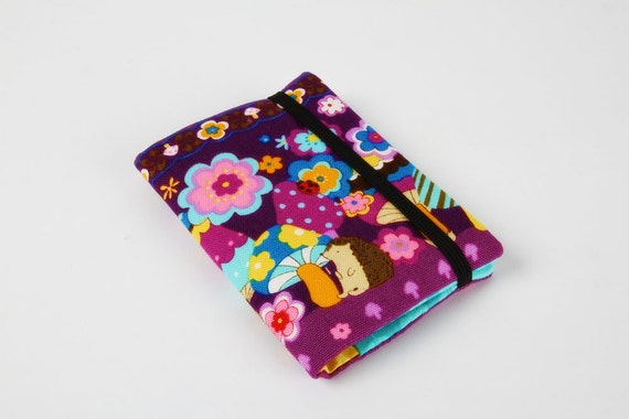 Card holder - Colorful mushroom on purple