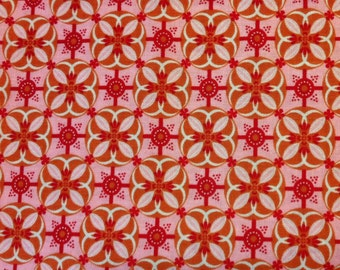 Dilly Day Wallpaper Tile Fabric in Pink and Red by Sharon Holland for Paintbrush Studios Fabrics - 1 yard