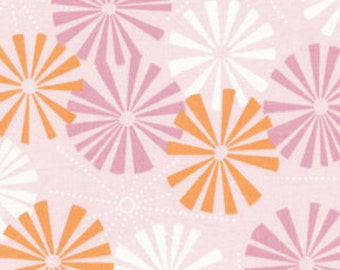 SALE Soliel Soleil Pinwheel Pom Poms AT50 in Rose Pink by Annette Tatum for Free Spirit Fabrics - 1 yard