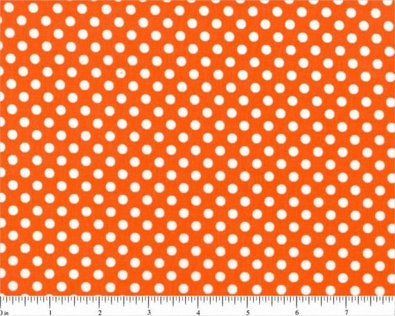 Lots of Dots Tangerine Orange Spotty Dot Polka Dots Cotton FABRIC - 10 Yards