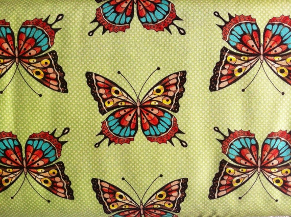 Flutter Allover Butterfly Butterflies Fabric Lime Green by Ro Gregg for Paintbrush Studios Fabrics by Fabri Quilt - 1 yard