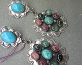 Vintage, Sterling Silver, SemiPrecious Stones&Turquoise Earrings, FREE shipping