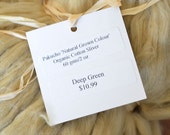 Organic Cotton Sliver Roving 2 0z Natural Color Deep Green