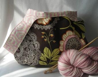 Knitting Project bag - medium size japanese knot bag - shawl sock crochet amigurumi - Amy Butler Lotus Lacework  - free knitting pattern too