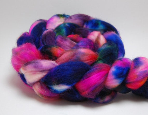 Street Spirit - 4 oz Blue Yellow Orange Pink Purple Handpainted Superwash Merino Wool Top Roving