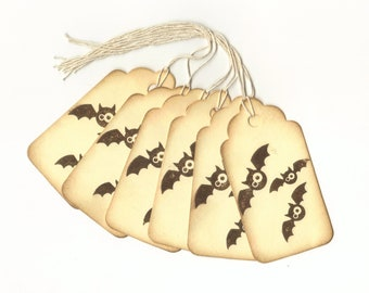 Bats Hand Stamped Large Scallop Die Cut Hang Tags (Set of 6) Favor Tags